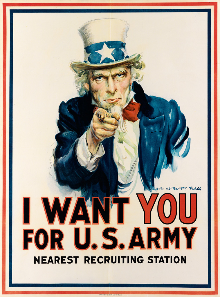James Montgomery Flagg I WANT YOU FOR U.S. ARMY 1917 40x29 in Leslie-Judge Co., New York